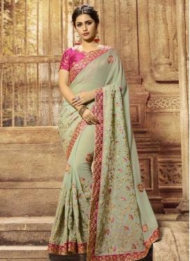 Silk Georgette Beads Work Traditional Designer Saree