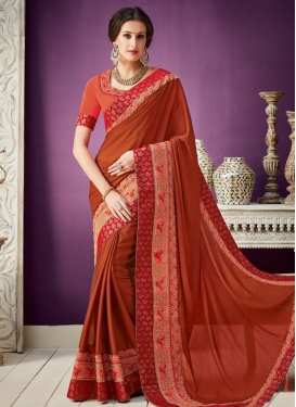 Silk Georgette Beads Work Trendy Classic Saree
