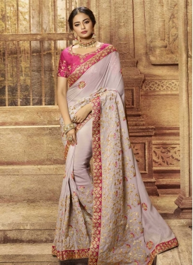 Silk Georgette Beige and Rose Pink Beads Work Traditional Designer Saree