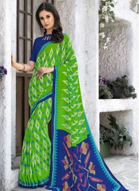 Silk Georgette Blue and Green Classic Saree
