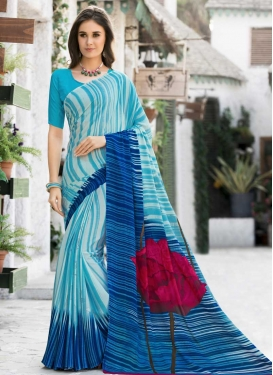Silk Georgette Blue and Light Blue Contemporary Style Saree For Casual