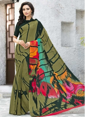 Silk Georgette Bottle Green and Olive Trendy Saree