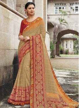 Silk Georgette Contemporary Style Saree For Ceremonial
