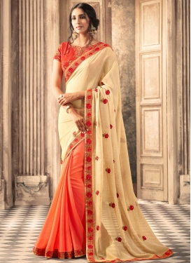 Silk Georgette Coral and Cream Half N Half Trendy Saree For Ceremonial