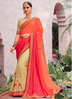 Silk Georgette Cream and Orange Aari Work Half N Half Saree