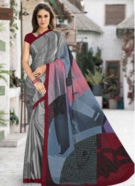 Silk Georgette Digital Print Work Designer Traditional Saree