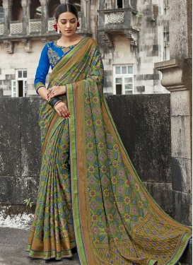 Silk Georgette Embroidered Work Blue and Mint Green Contemporary Style Saree
