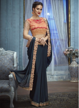 Silk Georgette Embroidered Work Classic Saree