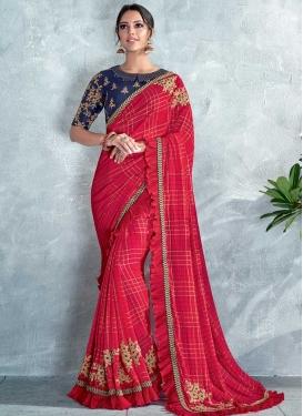Silk Georgette Embroidered Work Designer Contemporary Saree