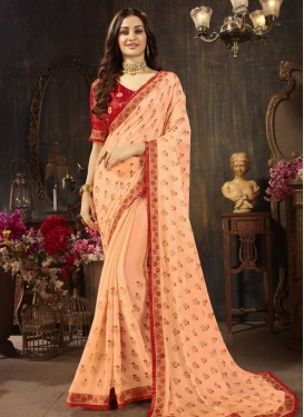 Silk Georgette Embroidered Work Peach and Red Designer Contemporary Saree