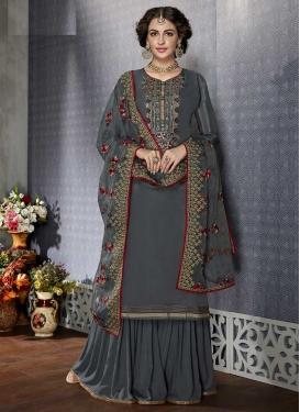 Silk Georgette Embroidered Work Sharara Salwar Suit