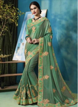 Silk Georgette Embroidered Work Trendy Saree