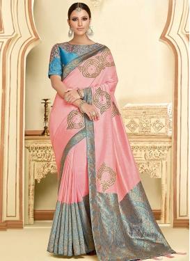 Silk Georgette Embroidered Work Trendy Saree