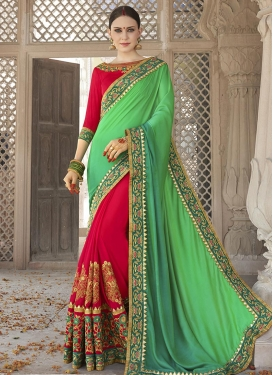 Silk Georgette Green and Red Embroidered Work Half N Half Trendy Saree