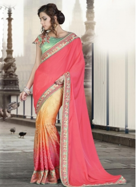 Silk Georgette Half N Half Trendy Saree