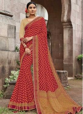 Silk Georgette Lace Work Trendy Saree