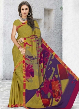 Silk Georgette Olive and Purple Digital Print Work Traditional Saree