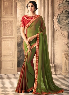 Silk Georgette Olive and Red Embroidered Work Trendy Saree