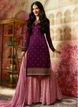 Silk Georgette Pink and Purple Sharara Salwar Kameez