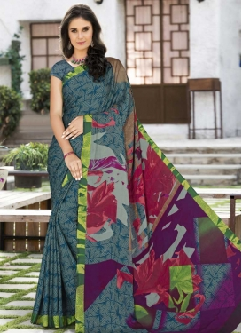 Silk Georgette Purple and Teal Designer Contemporary Saree