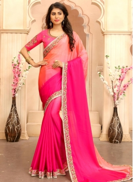 Silk Georgette Rose Pink and Salmon Classic Saree