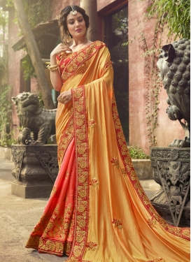 Silk Gold and Salmon Beads Work Half N Half Trendy Saree