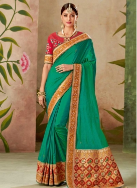 Silk Green and Red Embroidered Work Designer Contemporary Saree