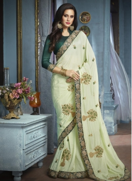 Silk Green and Sea Green Contemporary Style Saree