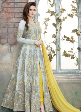 Silk Grey and Yellow Embroidered Work Long Length Designer Suit