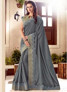 Silk Lace Work Traditional Saree