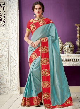 Silk Light Blue and Red Classic Saree For Ceremonial