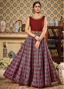 Silk Long Length Anarkali Salwar Suit For Festival