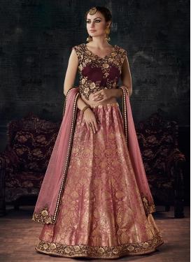 Silk Maroon and Pink Designer A Line Lehenga Choli