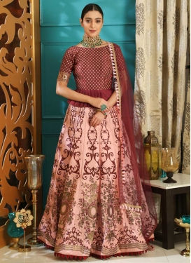 Silk Maroon and Salmon Designer Long Choli Lehenga