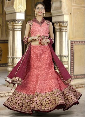 Silk Maroon and Salmon Trendy A Line Lehenga Choli