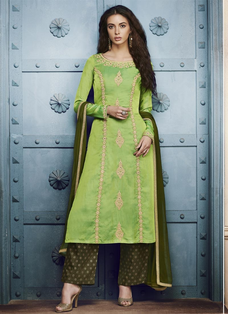 Silk Mint Green and Olive Pant Style Classic Suit
