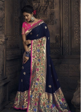 Silk Navy Blue and Rose Pink Embroidered Work Designer Contemporary Style Saree