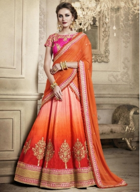 Silk Orange and Peach A - Line Lehenga