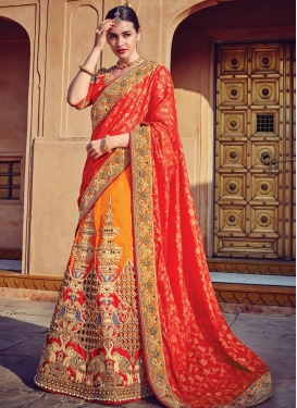 Silk Orange and Tomato Designer Lehenga Style Saree
