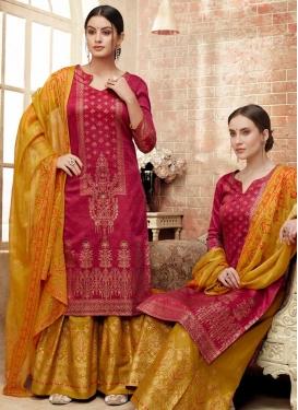 Silk Palazzo Style Pakistani Salwar Kameez