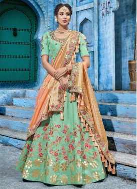 Silk Peach and Sea Green A - Line Lehenga