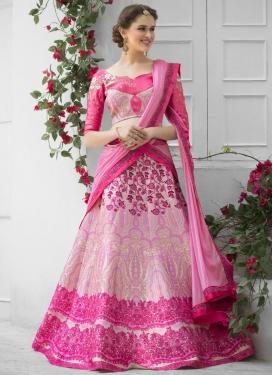 Silk Pink and Rose Pink Digital Print Work Trendy Lehenga Choli
