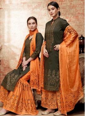 Silk Print Work Palazzo Style Pakistani Salwar Kameez