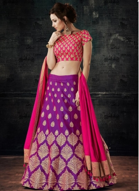 Silk Purple and Rose Pink A - Line Lehenga