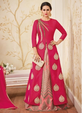 Silk Rose Pink and Salmon Booti Work Kameez Style Lehenga Choli