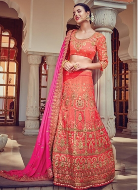 Silk Rose Pink and Salmon Lehenga Style Saree