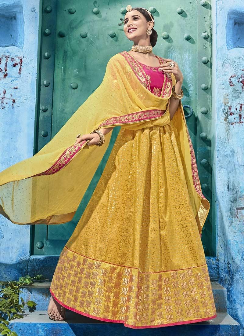 Silk Rose Pink and Yellow A Line Lehenga Choli