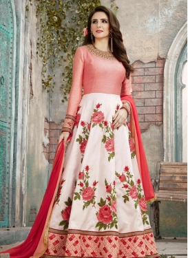 Silk Salmon and White Embroidered Work Long Length Anarkali Suit