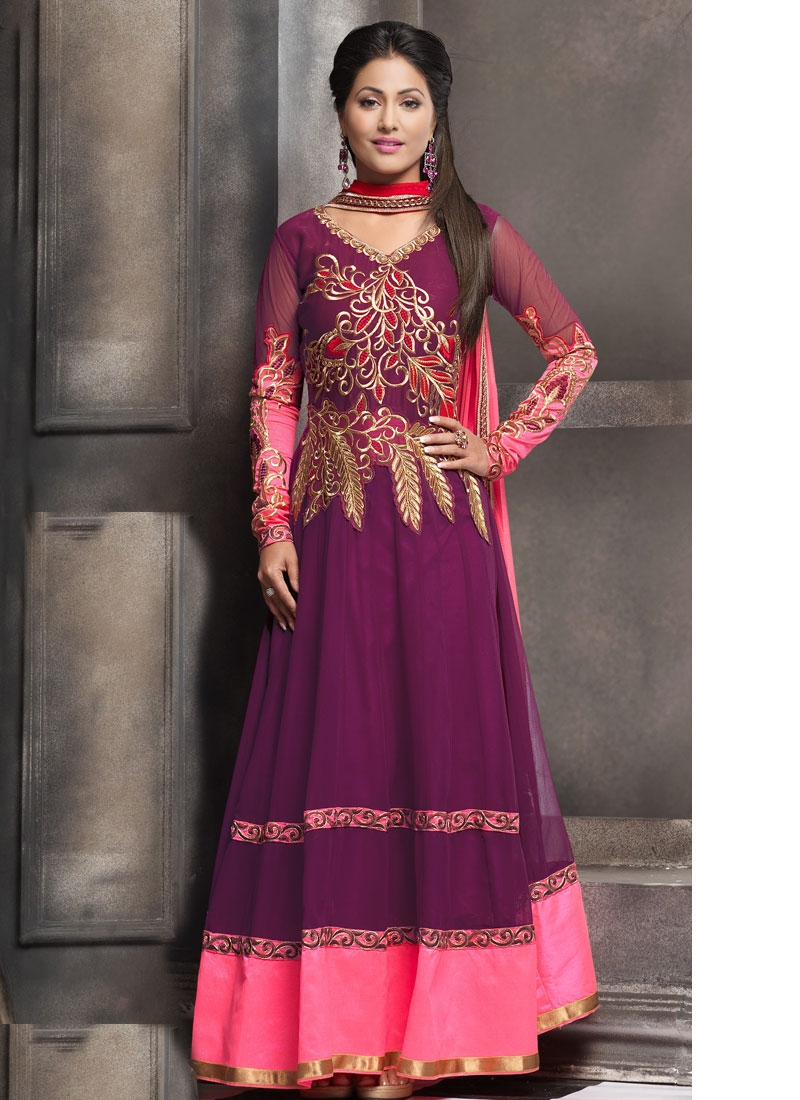 Simplistic Aari And Resham Work Hina Khan Anarkali Salwar Suit