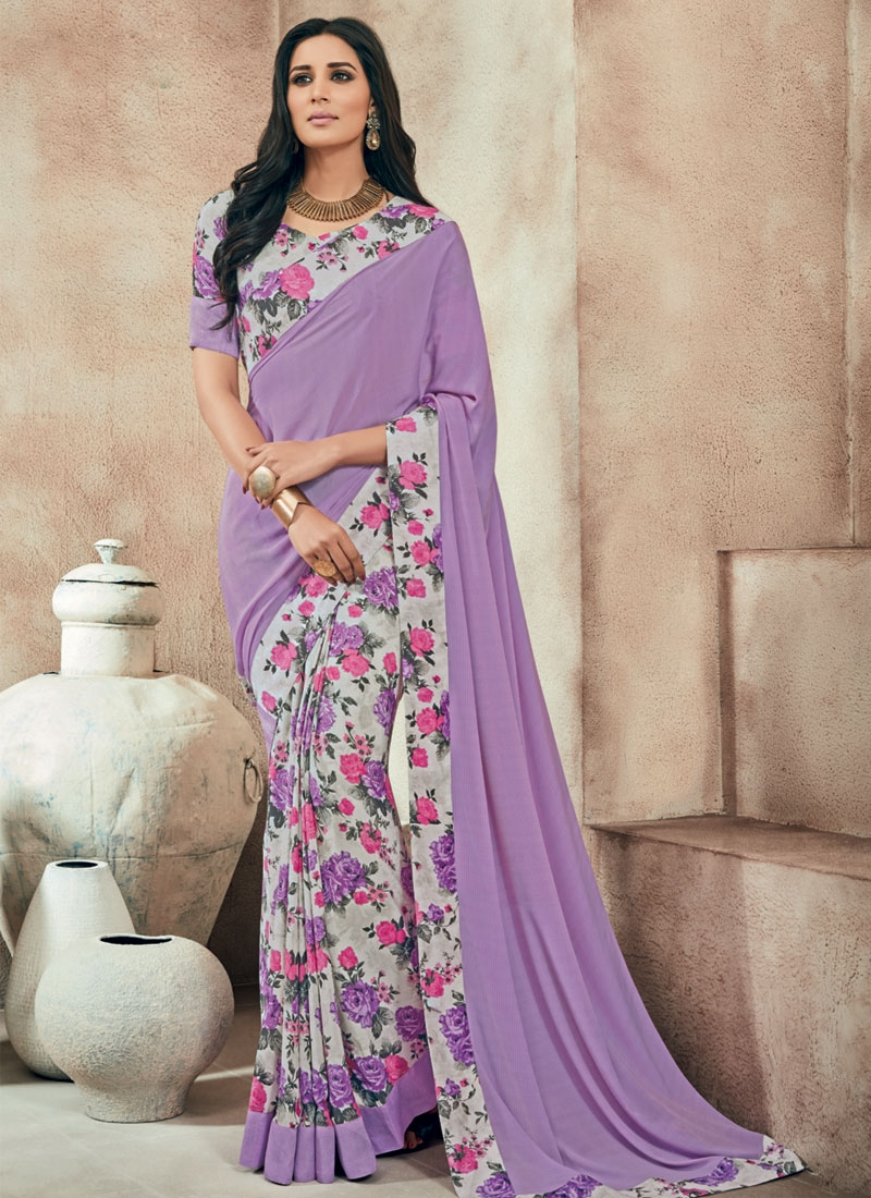Simplistic Abstract Print Work Half N Half Casual Saree